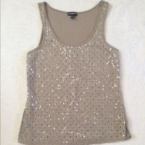 Express Tan Lace Clear Sequin Tank Top Shirt XS